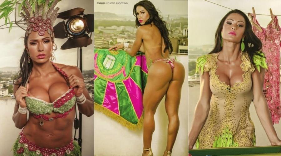 6.jan.2013 - Rainha da bateria da escola de samba carioca, Gracyanne Barbosa fez um ensaio para a revista oficial da agremiação. As fotos foram feitas no morro da Mangueira, na zona norte do Rio