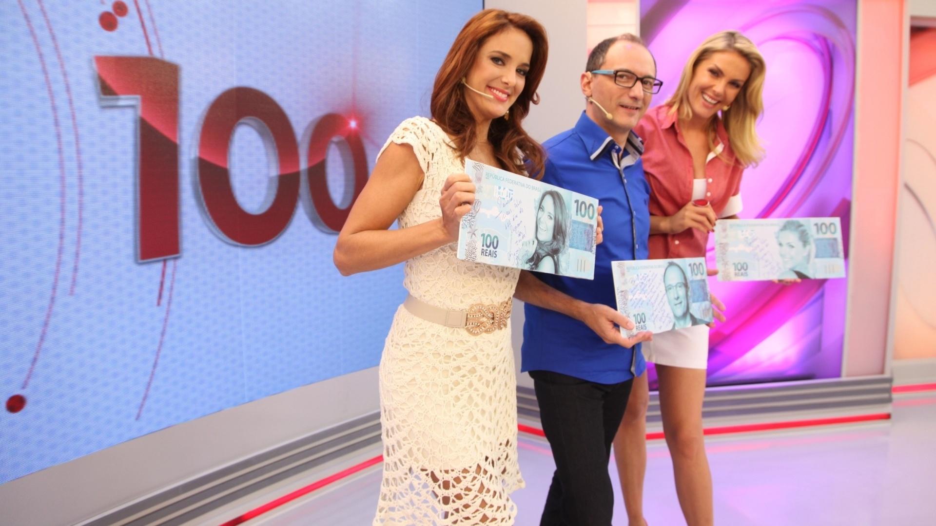 6.jan.2013 - Ticiane Pinheiro, Britto Jr. e Ana Hickmann gravaram a 100ª edição do