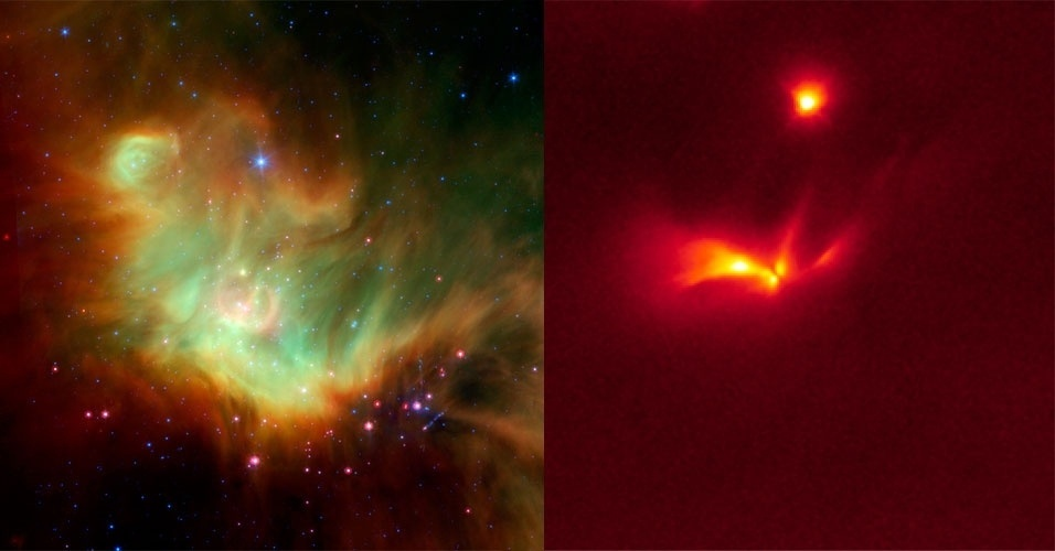7.fev.2013 - Imagens dos telescópios da Nasa Spitzer e Hubble foram unidas para desvendar uma misteriosa estrela jovem que pisca