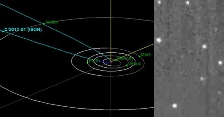 7.fev.2013 - Sonda Deep Impact, da Nasa (Agência Espacial Norte-Americana), capturou imagens do cometa Ison (à direita) a uma distância de 793 milhões de quilômetros, em janeiro passado. O cometa está fazendo sua primeira viagem para o interior do Sistema Solar (à esquerda) e pode ficar visível no céu do nosso planeta no final de 2013