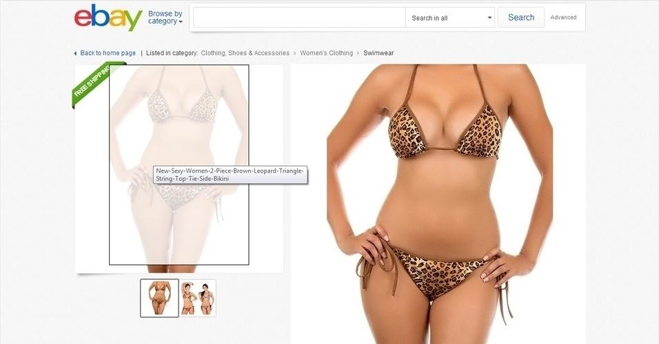 Era para ser um simples anúncio de um biquíni com estampa de oncinha no eBay, mas uma trapalhada no Photoshop deixou a modelo sem um item importante. O umbigo da modelo...