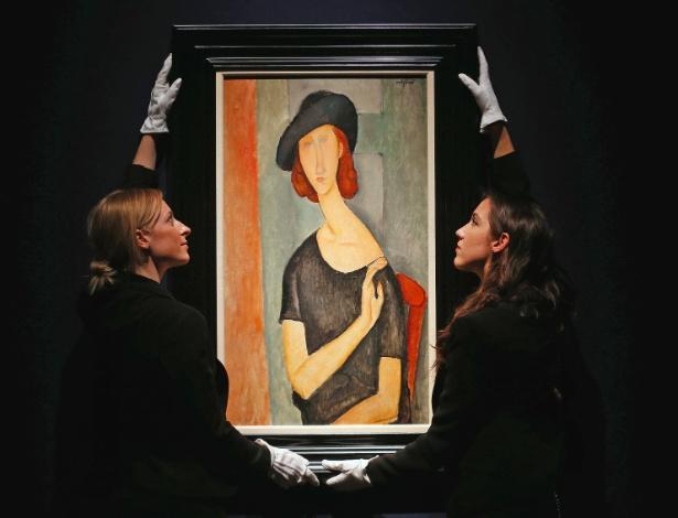 """""""Jeanne Hebuterne (de chapéu)"""", de Amedeo Modigliani, é leiloado pela Casa Christie - Reuters"""