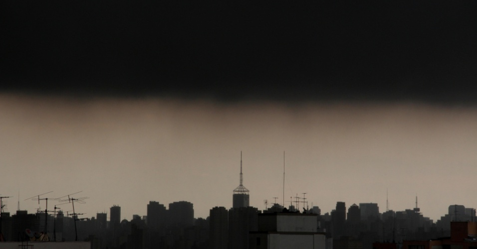 8.fev.2013 - Nuvens carregadas encobrem o céu na região central de São Paulo no final da tarde desta sexta-feira (8), antes do forte temporal que atinge a cidade