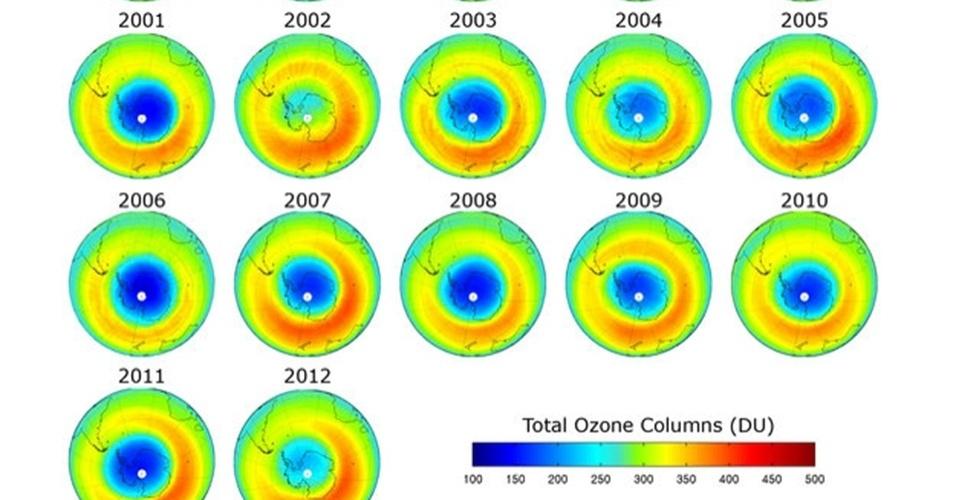 8.fev.2013 - Satélites europeus detectaram que o buraco da camada de Ozônio sobre a Antártida em 2012 foi o menor observado na última década. Isso aconteceu devido a temperaturas menos frias registradas na região. Acima, imagem mostra a evolução do buraco nos últimos 16 anos, com observações feitas durante a primavera (de setembro a novembro) de cada ano no continente