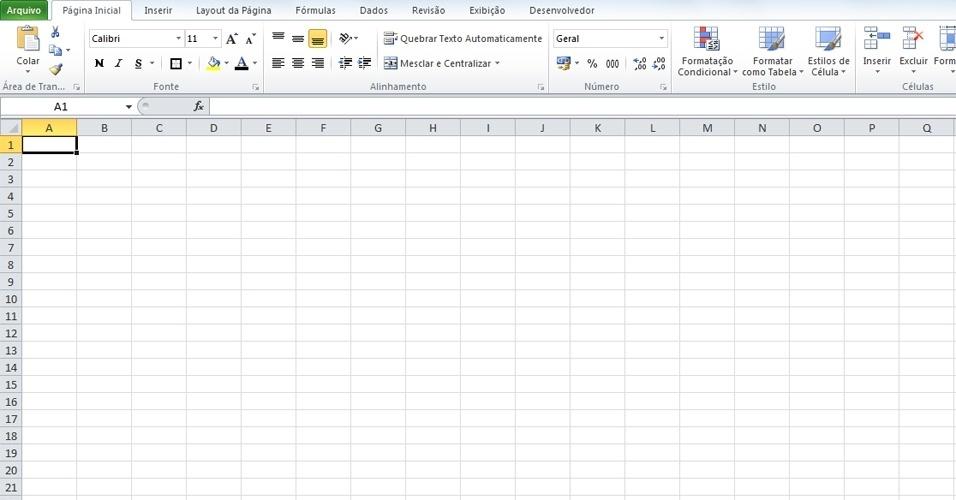 Abra o Microsoft Excel 2010