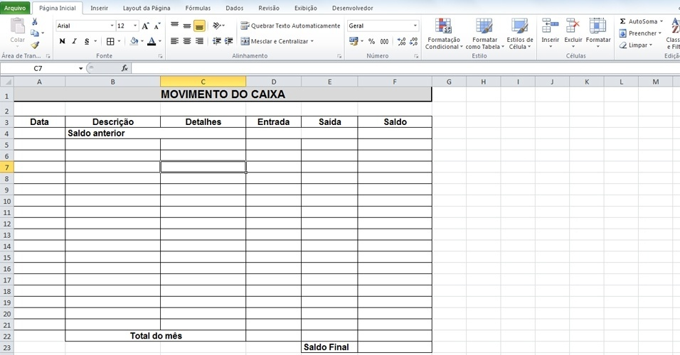 Monte a planilha com as seguintes informações: Data, Descrição, Detalhes, Entrada, Saída, Saldo (conforme imagem)