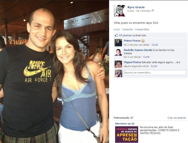 Musa do jiu-jítsu Kyra Gracie e ex-campeão do UFC Júnior Cigano se encontram no Carnaval de Salvador