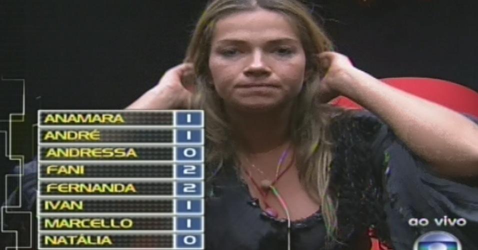 """10.fev.2013 - Fani vota em Fernanda no quinto paredão do """"BBB13"""" por ela ter vetado Ivan e Nasser da prova do líder"""