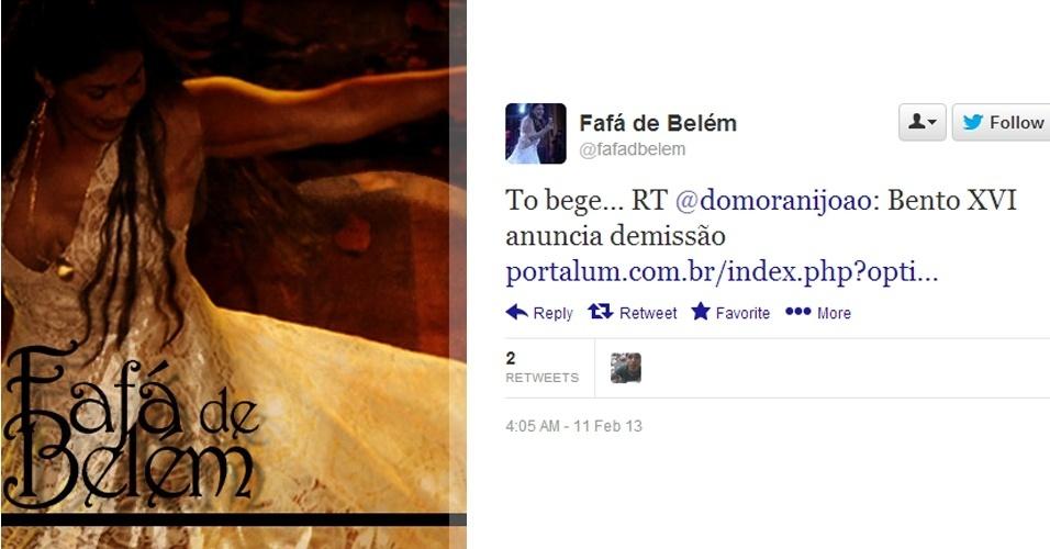 11.fev.2013 - A cantora Fafá de Belém se mostrou bastante surpreendida com a renúncia do papa Bento 16