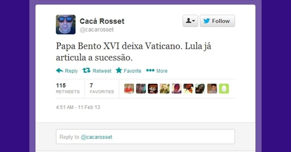 11.fev.2013 - Em sua conta no Twitter, o ator Cacá Rosset aproveita a renúncia do papa Bento 16 para
