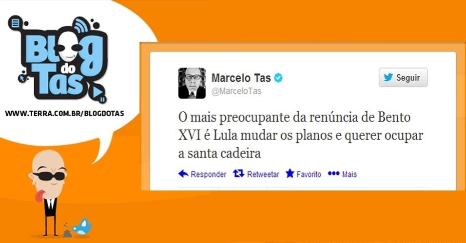 11.fev.2013 - O apresentador Marcelo Tas aproveitou a renúncia do papa Bento 16 para ironizar o ex-presidente Luiz Inácio Lula da Silva