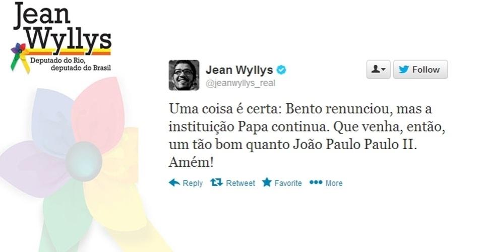 11.fev.2013 -  O deputado federal Jean Wyllys (PSOL-RJ) comentou em sua conta no Twitter a renúncia do papa Bento 16 e diz esperar que o substituto do pontífice seja