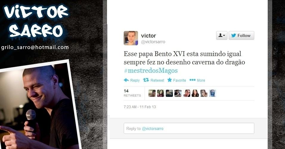 11.fev.2013 - O humorista Victor Sarro aproveitou a renúncia do papa Bento 16 para fazer piada