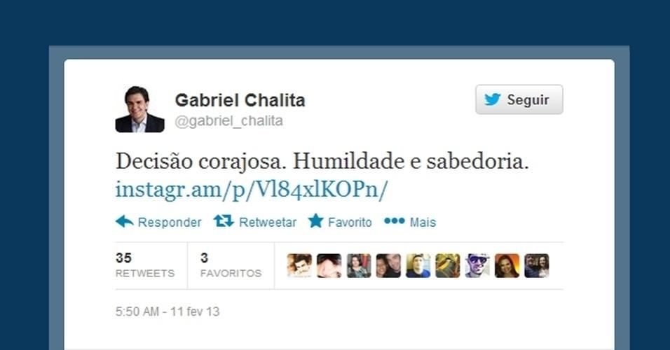 11.fev.2013 -  O político paulista Gabriel Chalita usou sua página no Twitter para dizer que a renúncia do papa Bento 16 foi corajosa e caracterizou o anúncio como