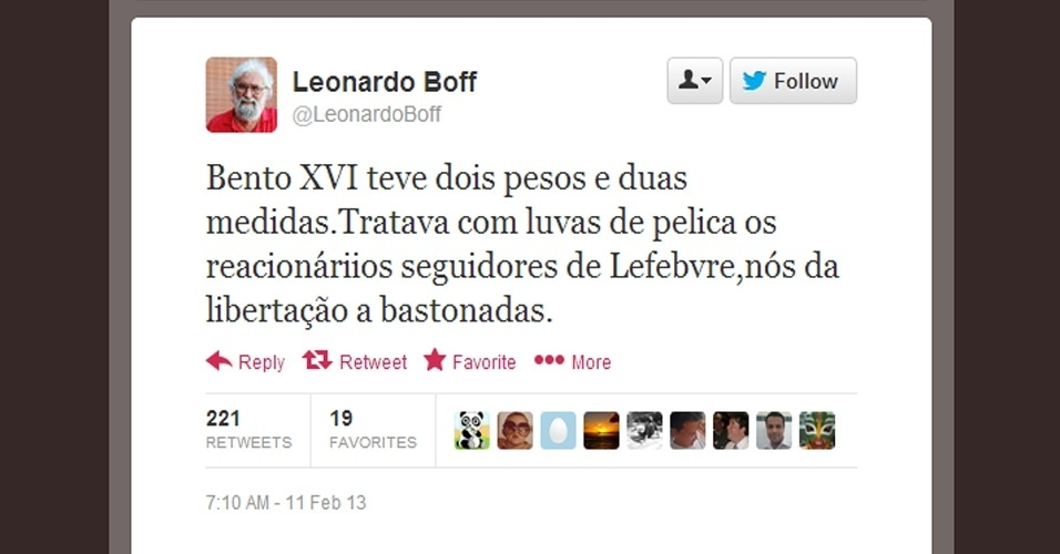 11.fev.2013 - O teólogo e escritor Leonardo Boff caracterizou a renúncia do papa Bento 16 como um ato de