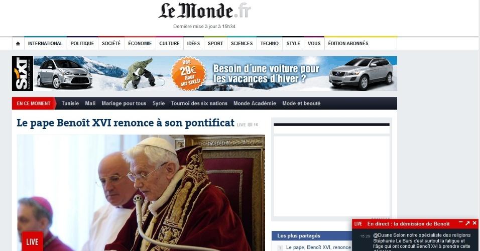A renúncia do papa Bento 16 na manchete do site do jornal francês