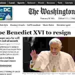 "A renúncia do papa Bento 16 na manchete do site do jornal norte-americano ""The Washington Post"" - Reprodução/""The Washington Post"""