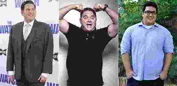 Aprenda com os looks de famosos gordinhos como Jonah Hill, Leo Jaime e André Marques a acertar na escolha de roupas - Getty Images/Divulgação/TV Globo
