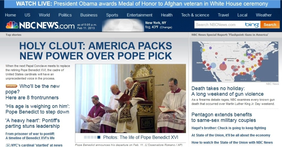 Destaque sobre a renúncia do papa Bento 16 no site norte-americano NBC News