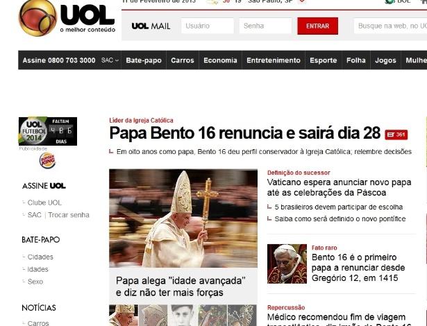Home Page do UOL no dia do anúncio da renúncia do papa Bento 16