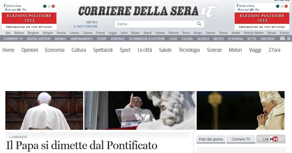 Manchete do site do jornal italiano