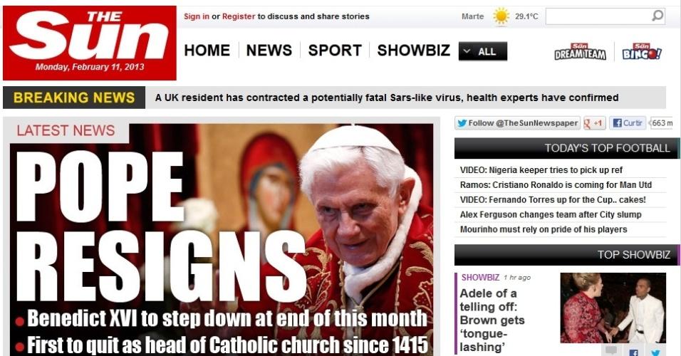Manchete do site do tabloide britânico