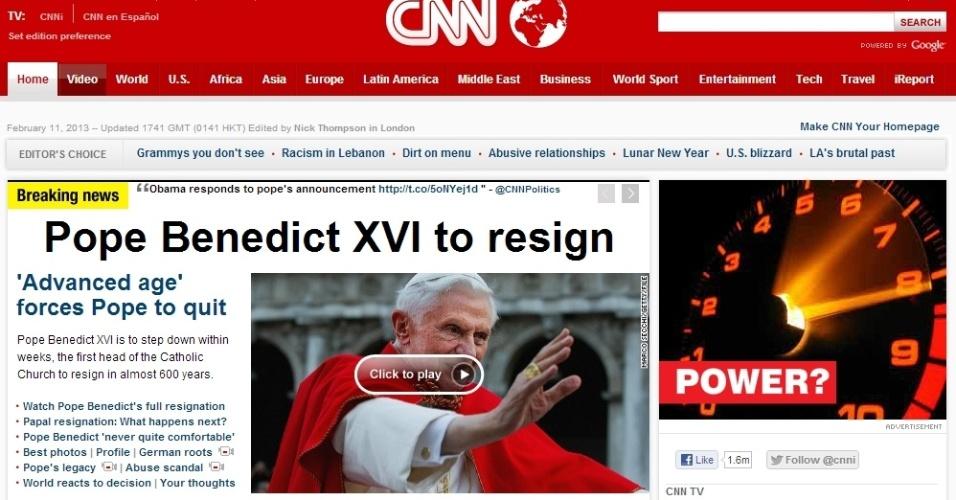 Página da CNN destaca renúncia do papa Bento 16