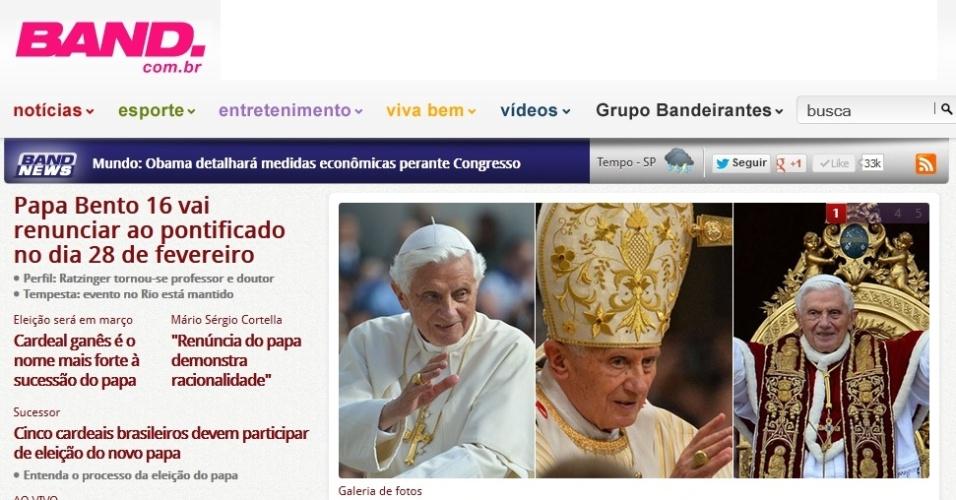 Portal da Band destaca a renúncia do papa Bento 16