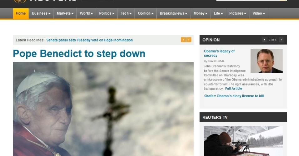 Site da agência de notícias Reuters destaca renúncia do papa Bento 16