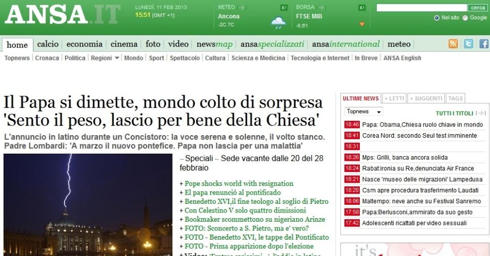 Site da agência italiana de notícias