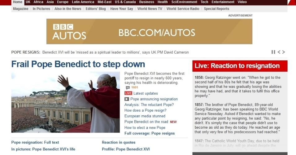 Site da BBC destaca a renúncia do papa Bento 16