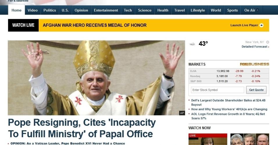 Site Fox News, dos Estados Unidos, mancheta a renúncia do papa Bento 16
