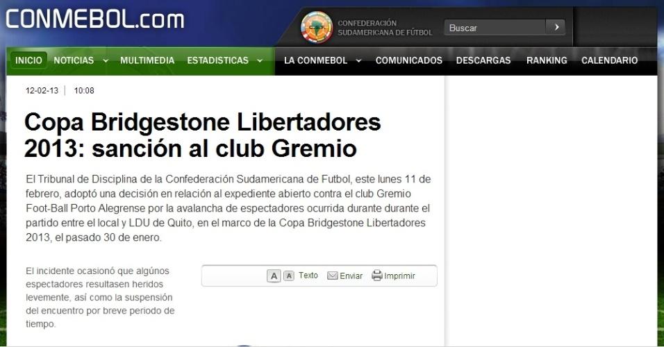 Conmebol multa o Grêmio e determina fechamento do setor onde ocorre a avalanche (12/02/2013)