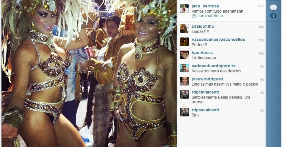 Jade Barbosa posa ao lado da panicat Carol Narizinho antes do desfile da Beija Flor