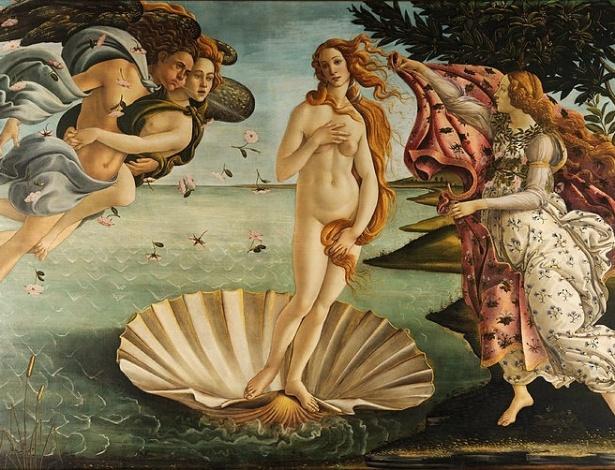 """""""O nascimento de Vênus"""", de Sandro Botticelli, tem como tema episódio da mitologia clássica greco-romana - Reprodução"""