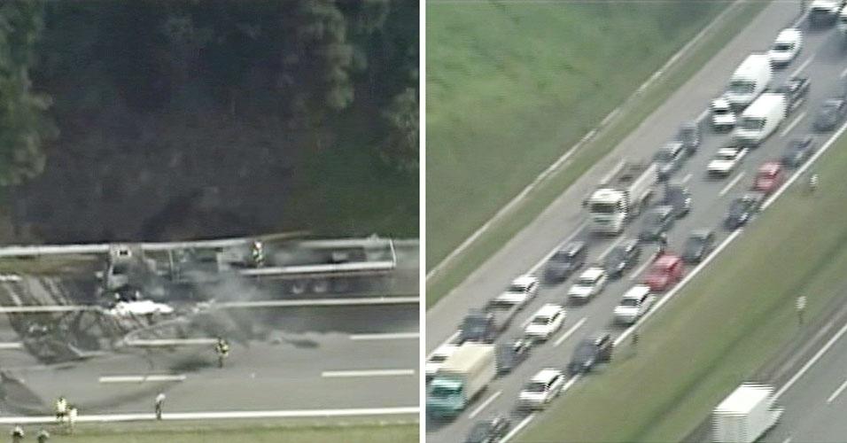 13.fev.2013 - Caminhão pega fogo na rodovia Ayrton Senna, em Guarulhos, na Grande São Paulo, e causa congestionamento no sentido São Paulo. Ninguém ficou ferido.