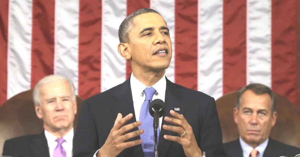 13.fev.2013 - O presidente americano, Barack Obama, fala no Congresso, em Washington, onde fez o discurso do Estado da União