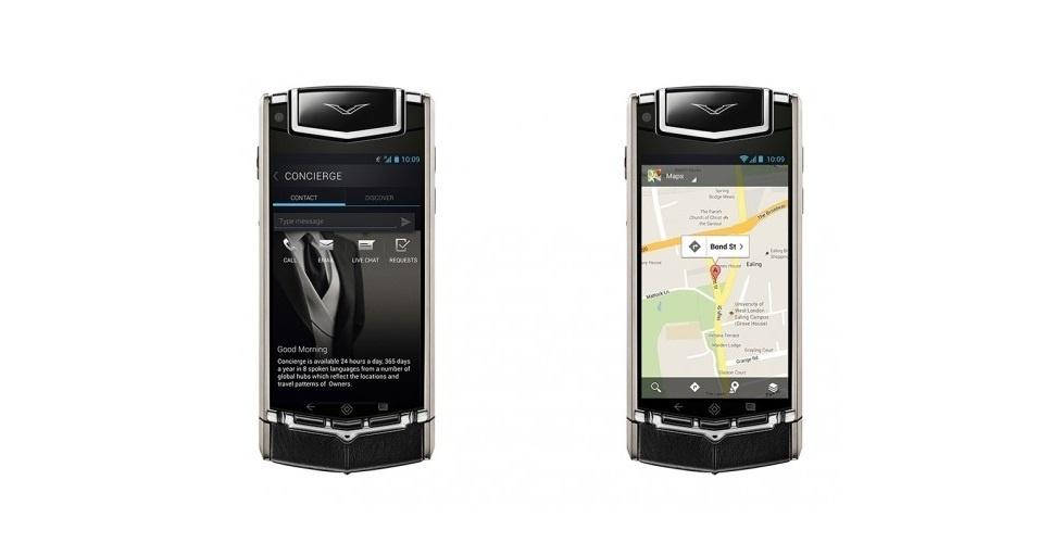 """A """"Vertu"""", antiga linha de celulares de luxo da Nokia, continua criando novos produtos nas mãos de outros donos. A linha de luxo """"Ti"""", com Android 4.0, foi lançado ao preço de US$ 10 mil (cerca de R$ 20 mil). O produto possui câmera frontal de 1.3 megapixel, 64 GB de armazenamento e carcaça de titânio"""