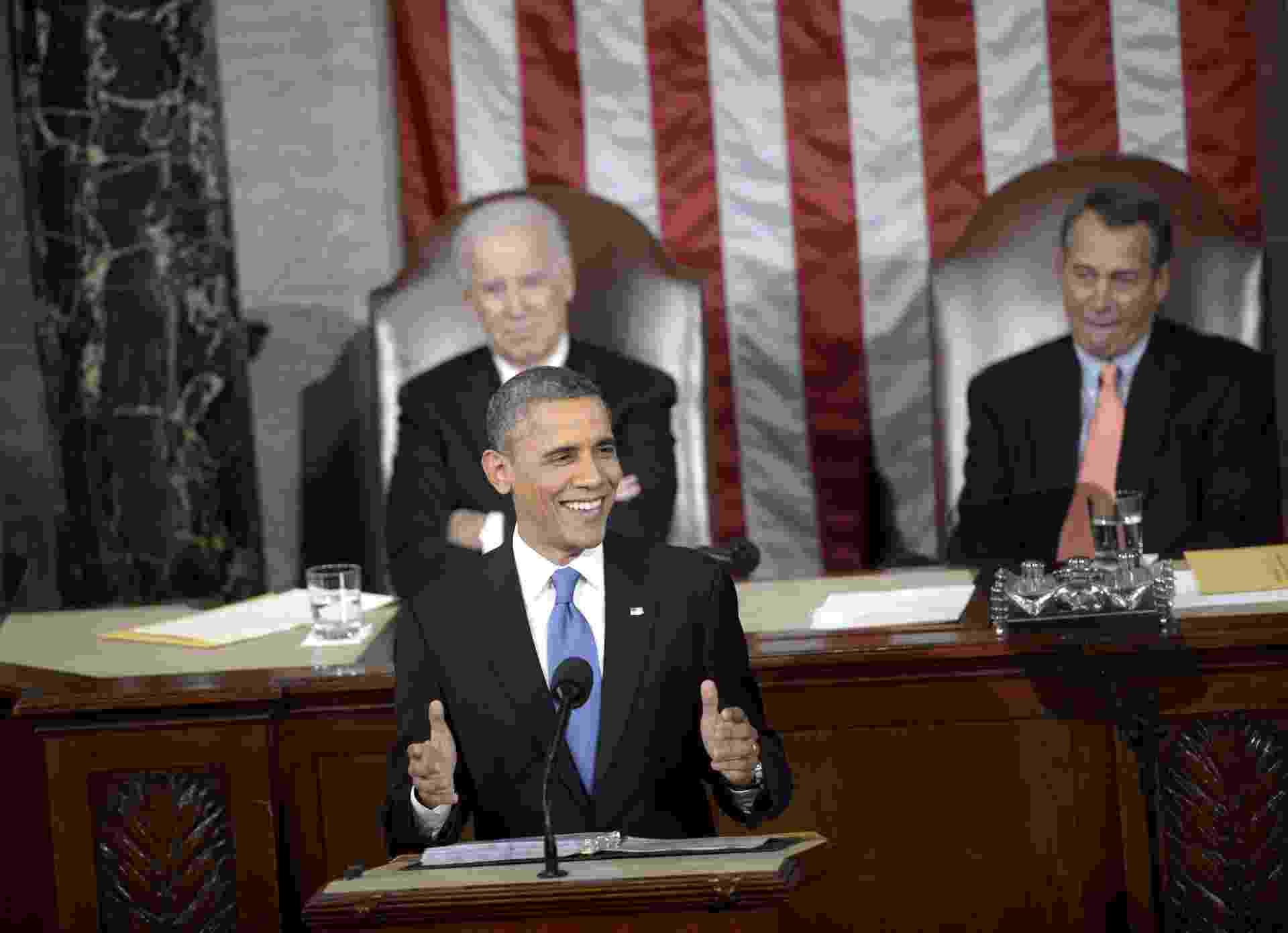 13.fev.2013 - O presidente dos Estados Unidos, Barack Obama, prometeu, durante discurso ao Congresso, que tomará 'medidas executivas' para combater os efeitos da mudança climática - Brendan Smialowski/AFP