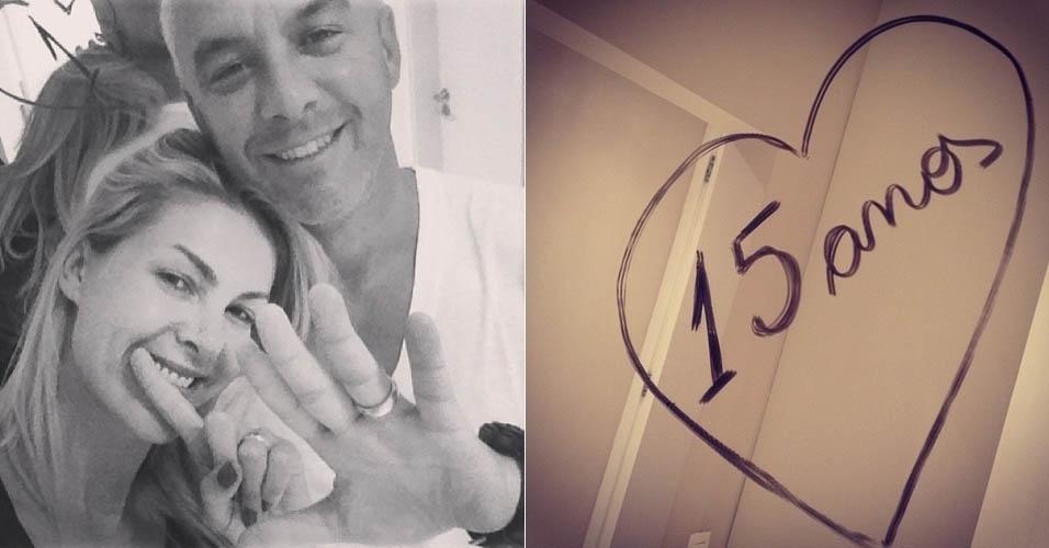 14.fev.2013 - Ana Hickmann comemora 15 anos ao lado do marido