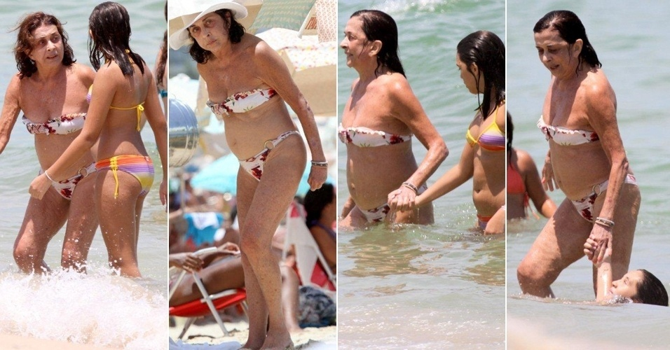 14.fev.2013 Nesta quinta-feira, a atriz Betty Faria levou a neta à praia do Leblon, que fica na Zona Sul do Rio de Janeiro