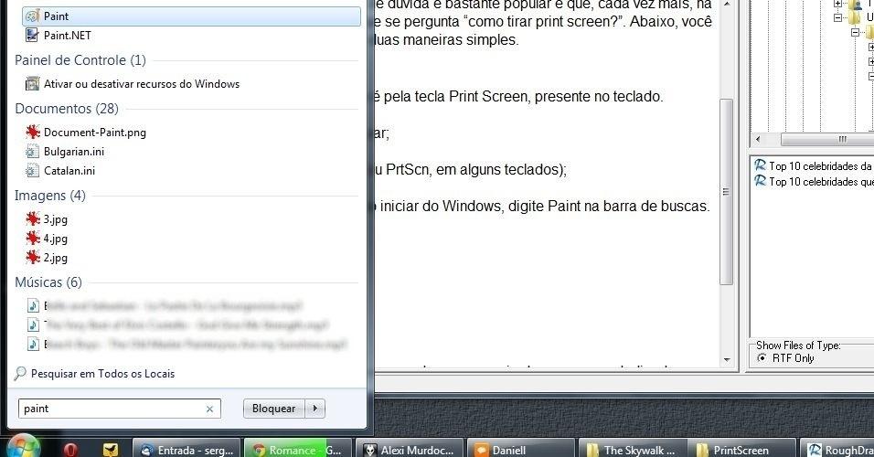 Agora, deve-se abrir o programa Paint (ou Photoshop, se preferir). Para o Paint, clique no botão iniciar do Windows (no canto esquerdo inferior da tela). Digite a palavra Paint na barra de buscas. Dê Enter