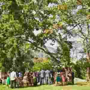 Casamento de Carol e Marcelo, um casal de cineastas que resolveu fazer uma cerimônia íntima, para 140 pessoas, debaixo de uma árvore em Vargem Pequena, no Rio de Janeiro - Marina Lomar/Divulgação