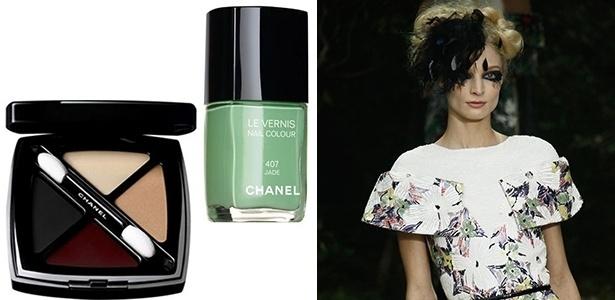 Paleta de sombras com textura de gloss e esmalte verde Jade foram algumas das criações do maquiador para a Chanel. Ao lado, look do último desfile da marca -