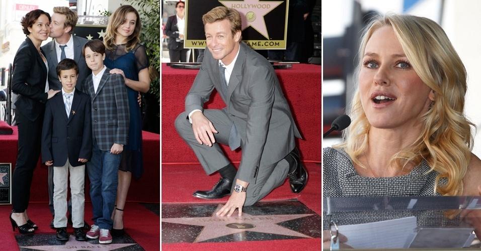 14.fev.2013 - Ator Simon Baker ganha estrela em Calçada da Fama, em Hollywood