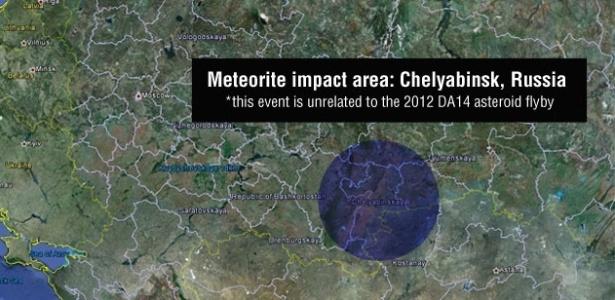 Área da cidade de Tcheliabinsk, na Rússia, que foi atingida por um meteoro nesta sexta-feira (15). Este foi o acidente cósmico com maior número de feridos até hoje