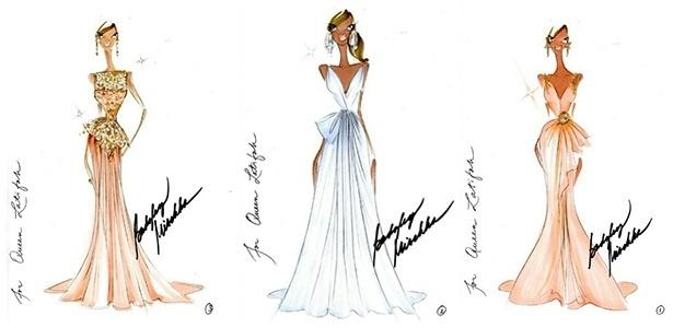 Croquis criados pela Badgley Mischka para Queen Latifah. Uma das peças será usada pela atriz no Oscar 2013 - Reprodução/Instagram