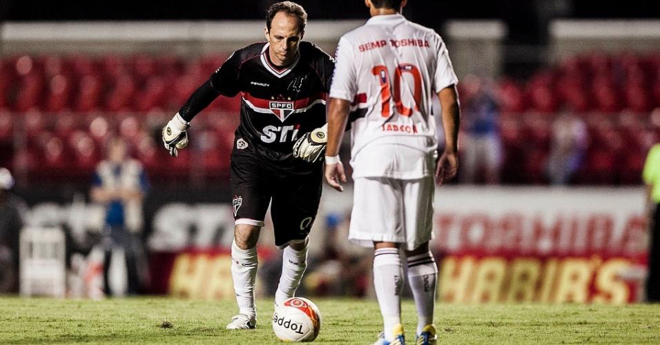 16.fev.2013 - Rogério Ceni, do São Paulo, cobra falta durante a partida contra o Ituano, válida pela 8ª rodada do Campeonato Paulista