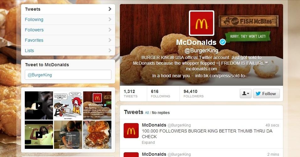15.fev.2013 - O perfil do Burger King no Twitter (@BurgerKing) foi invadido e, no lugar da imagem de perfil da empresa, foi colocada a logomarca do McDonald's. Pouco tempo depois, a conta foi suspensa pelo microblog.
