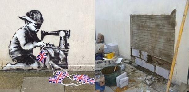 A parede do bairro Wood Green em Londres antes ocupada por um mural do grafiteiro Banksy agora exibe o buraco de onde a pintura foi retirada - BBC e Alan Strickland